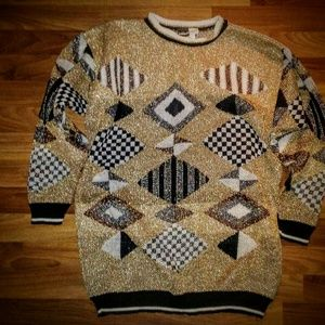 Vintage Gold,Black,White Sweater